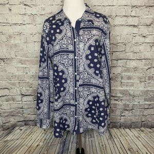 Foxcroft Navy White Paisley Printed Button Up Long